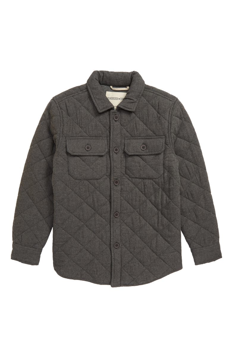 TUCKER + TATE Sunset Ridge Quilted Shirt Jacket, Main, color, GREY MEDIUM HEATHER