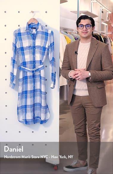 Plaid Long Sleeve Belted Linen Shirtdress, sales video thumbnail