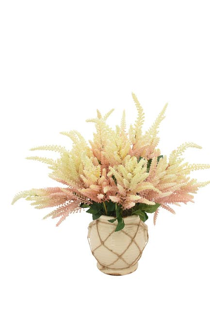 """Image of Willow Row White & Pink Astilbe in a Cream Container w/ Rope, 22"""" L x 20"""" H"""
