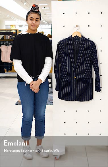 Long Pinstripe Metallic Blazer, sales video thumbnail