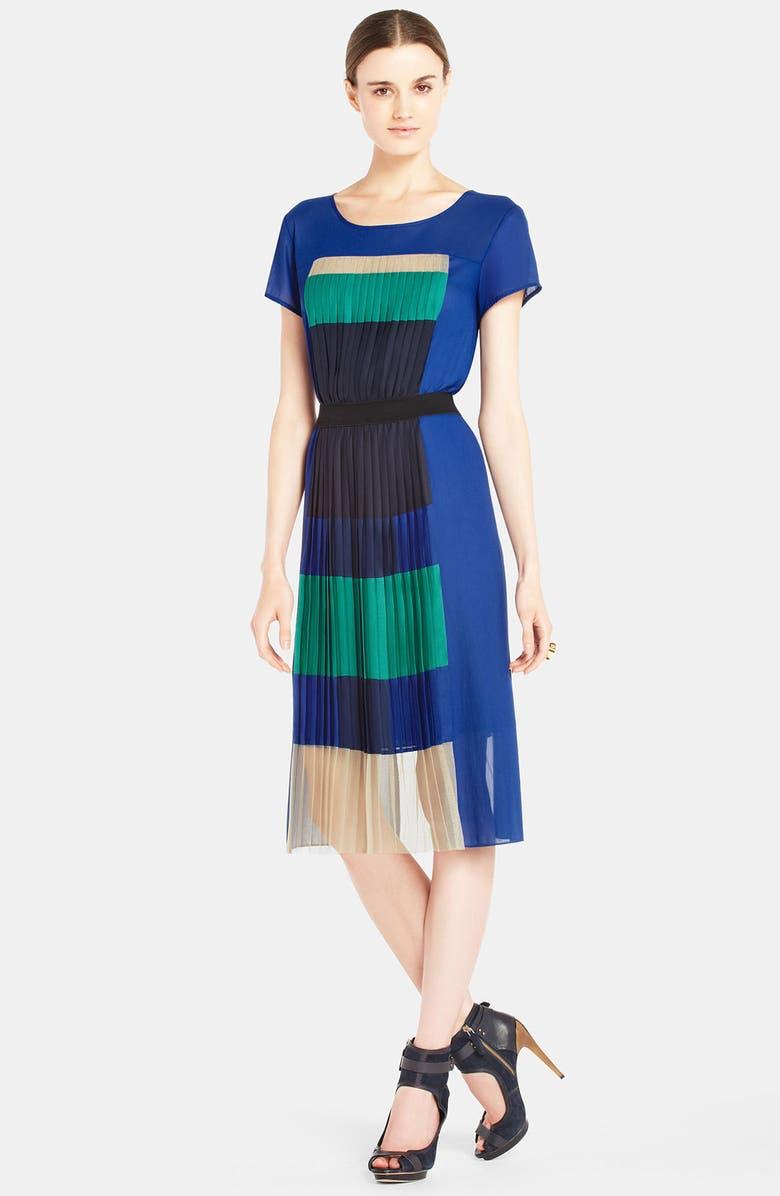 BCBGMAXAZRIA Pleated Colorblock Panel Chiffon Dress, Main, color, 488