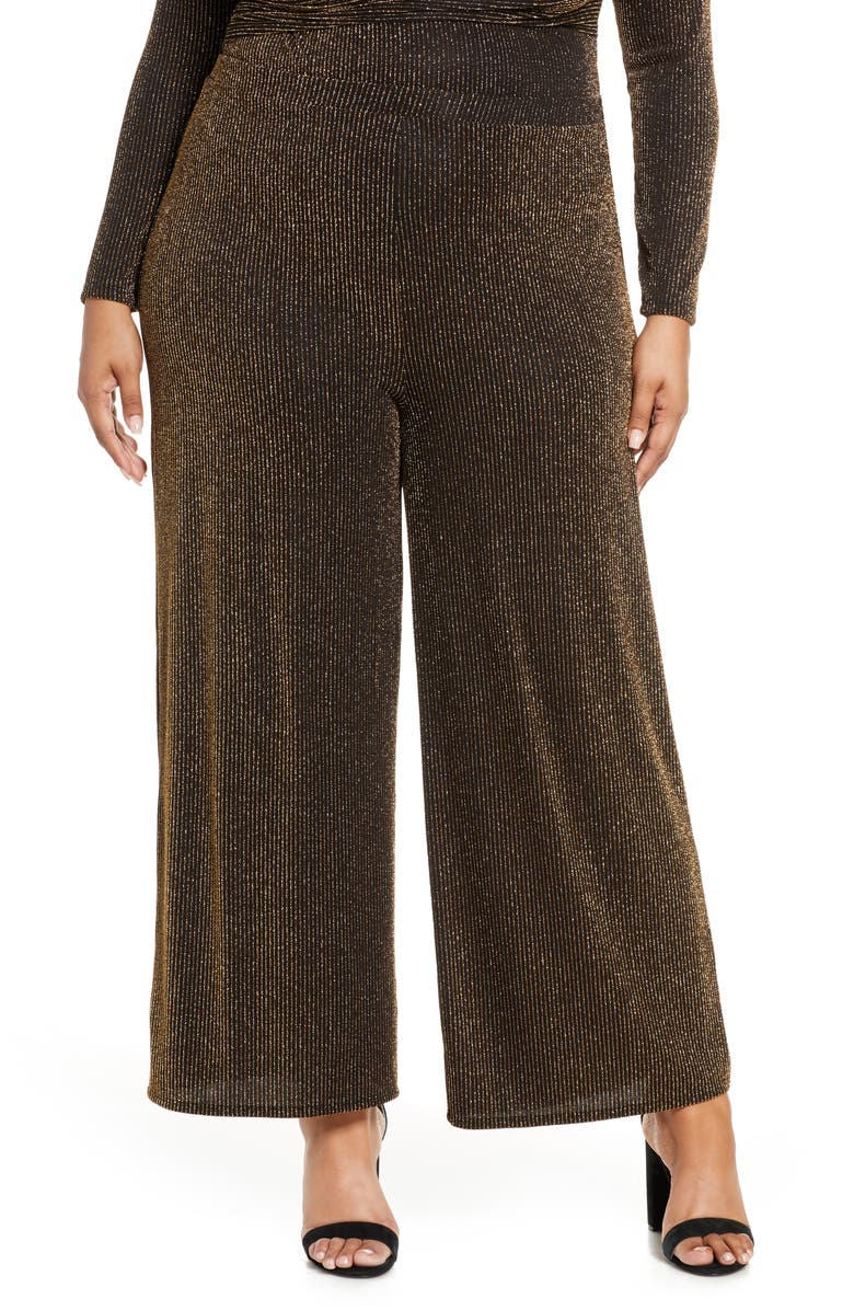 LEITH Sparkle Party Pants, Main, color, BLACK METALLIC GOLD STR