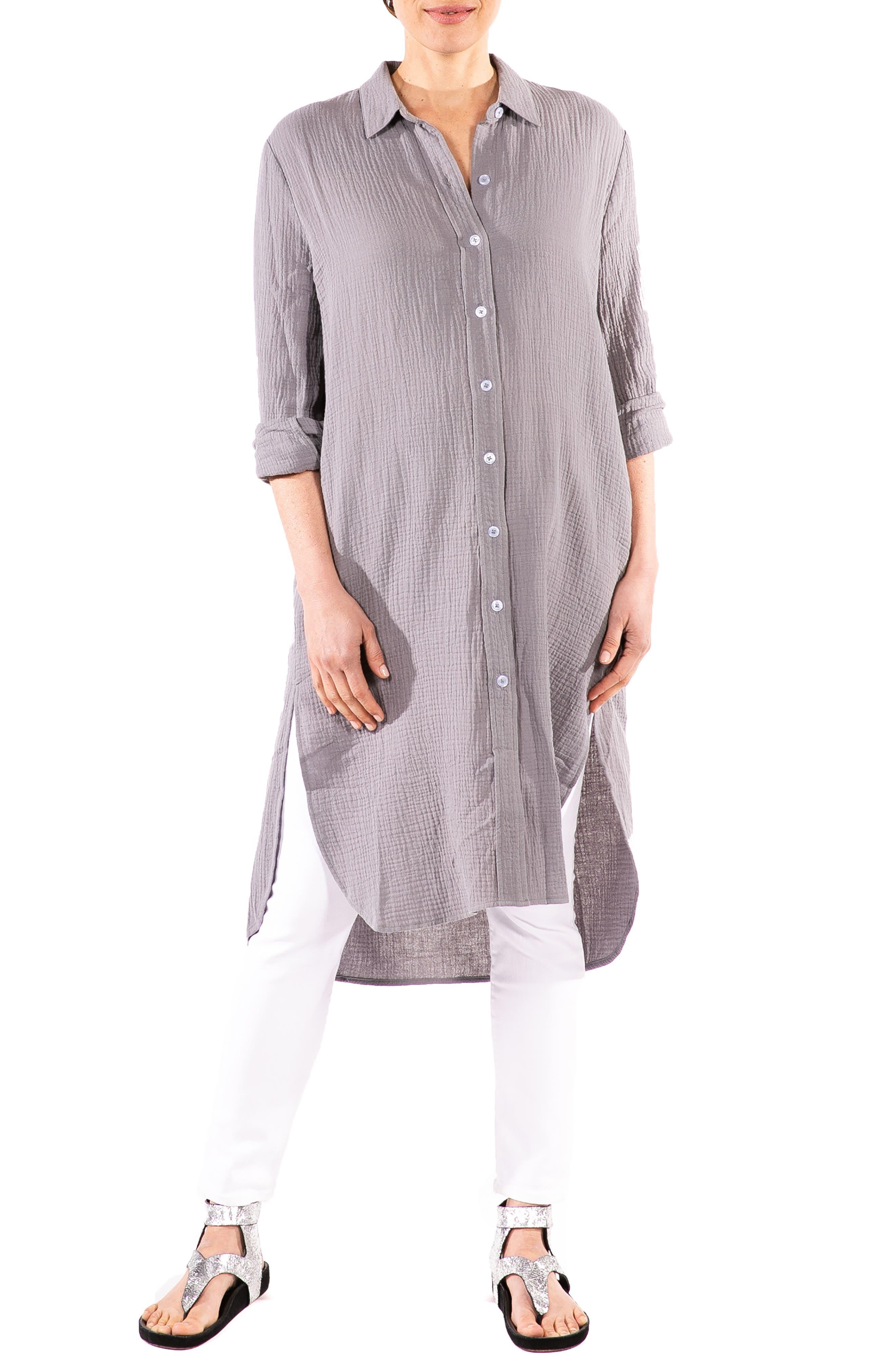 Carissa Long Sleeve Crinkle Maternity/nursing Shirtdress