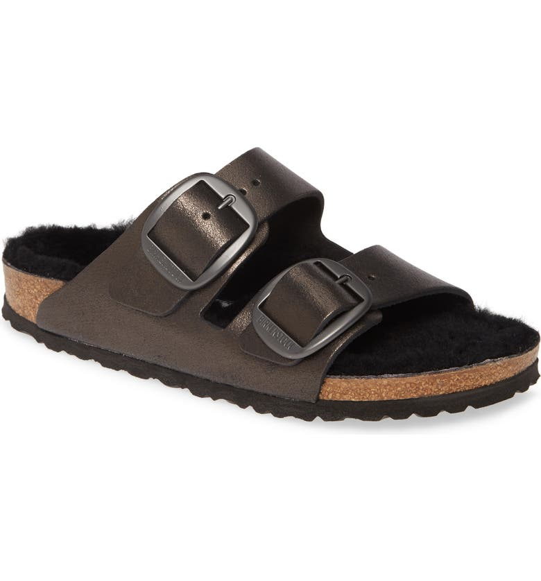 BIRKENSTOCK Perfect Pairs Arizona Big Buckle Sandal with Genuine Shearling Lining, Main, color, WASHED METALLIC ANTIQUE BLACK