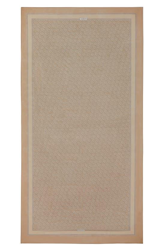 Burberry Tb Monogram Print Silk Chiffon Scarf In Pale Camel