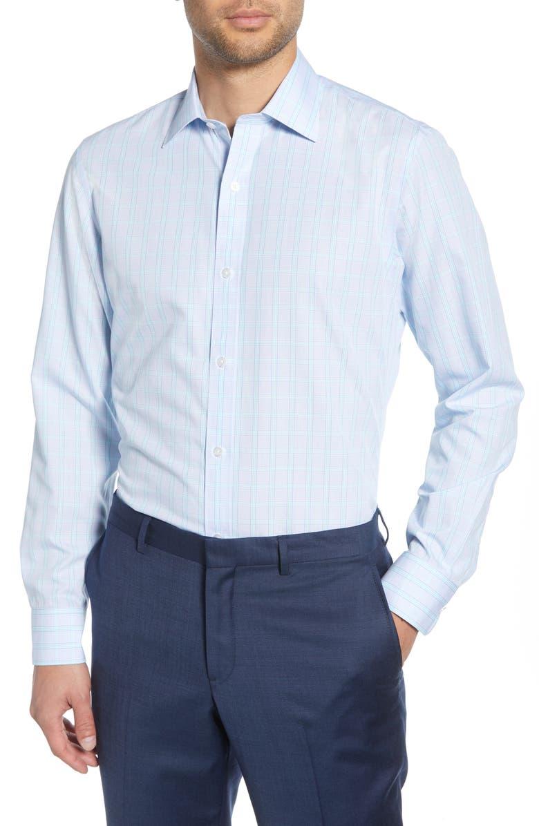 BONOBOS Surfside Slim Fit Plaid Dress Shirt, Main, color, BLUE