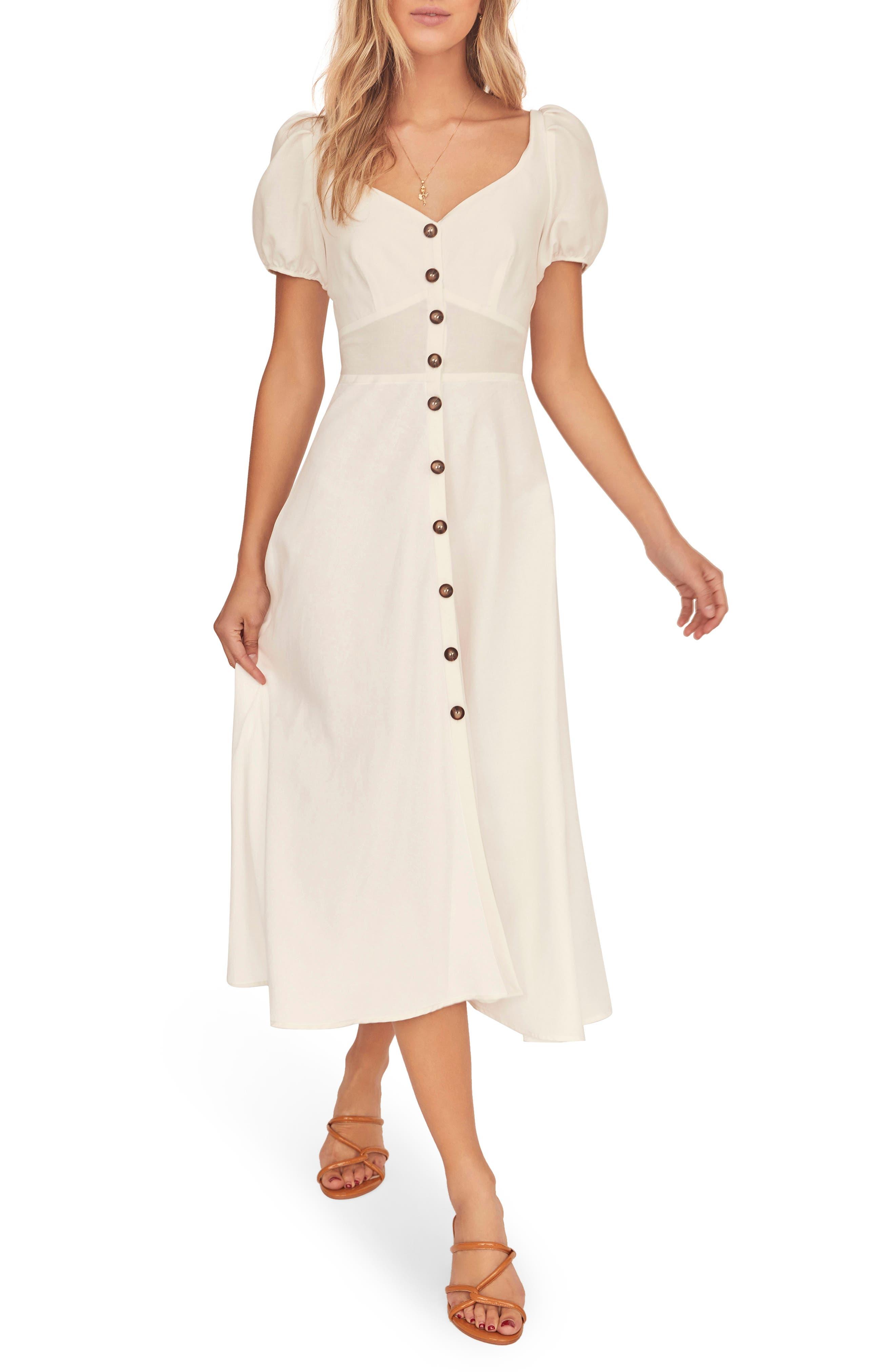 70s Dresses – Disco Dress, Hippie Dress, Wrap Dress Womens Astr The Label Pippa Midi Dress Size Small - White $138.00 AT vintagedancer.com