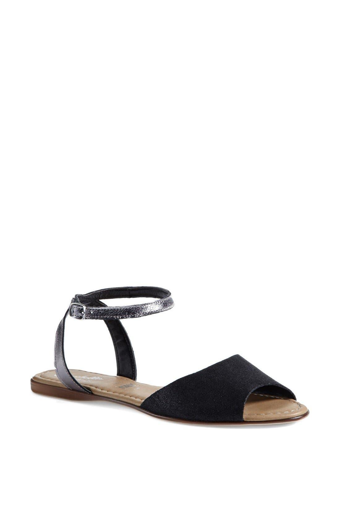 ,                             'Brand New' Ankle Strap Calf Hair Sandal,                             Main thumbnail 1, color,                             001