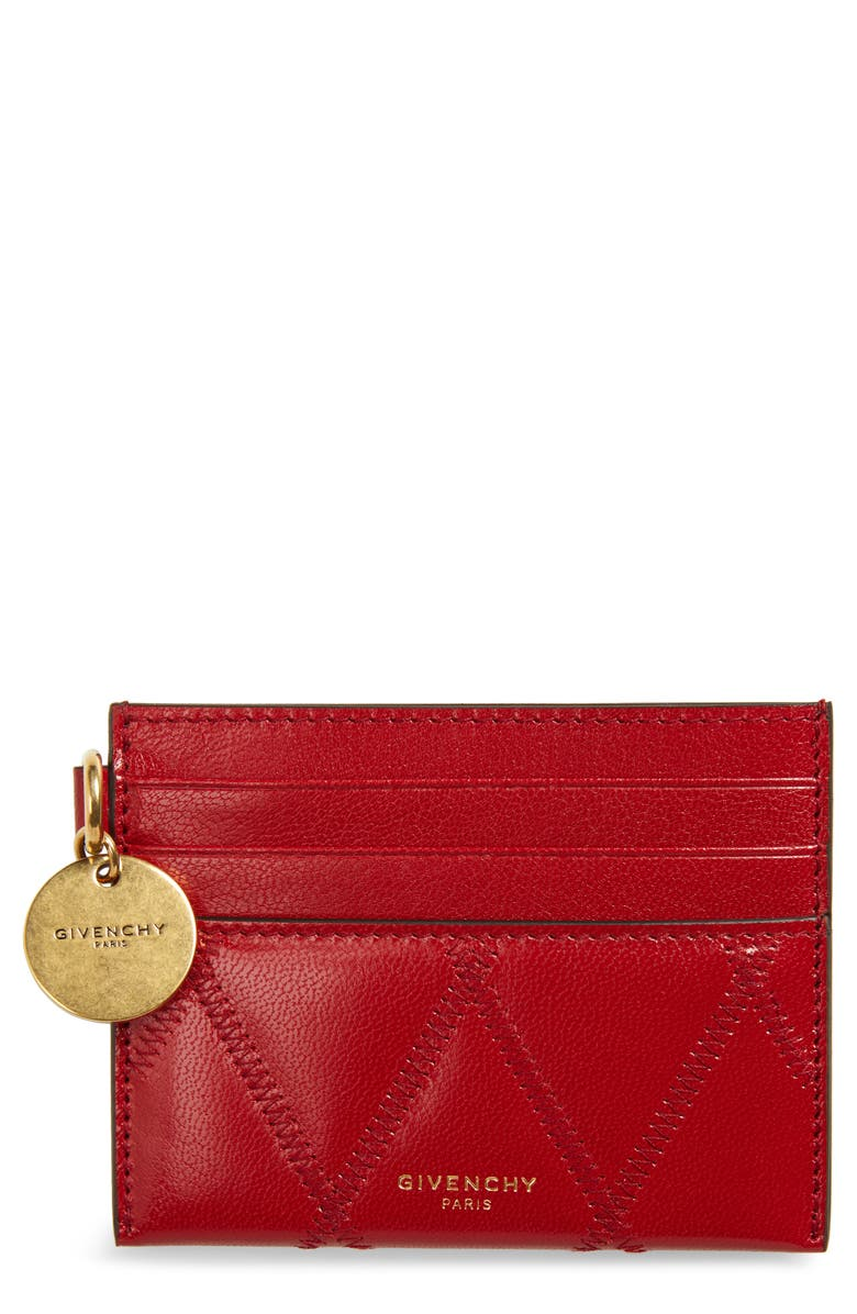 GIVENCHY GV3 Quilted Leather Card Case, Main, color, VERMILLION