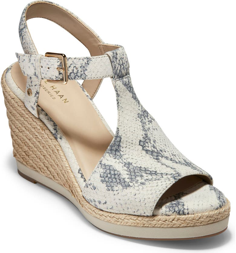 COLE HAAN Cloudfeel Espadrille Wedge Sandal, Main, color, CHALK SNAKE PRINT LEATHER