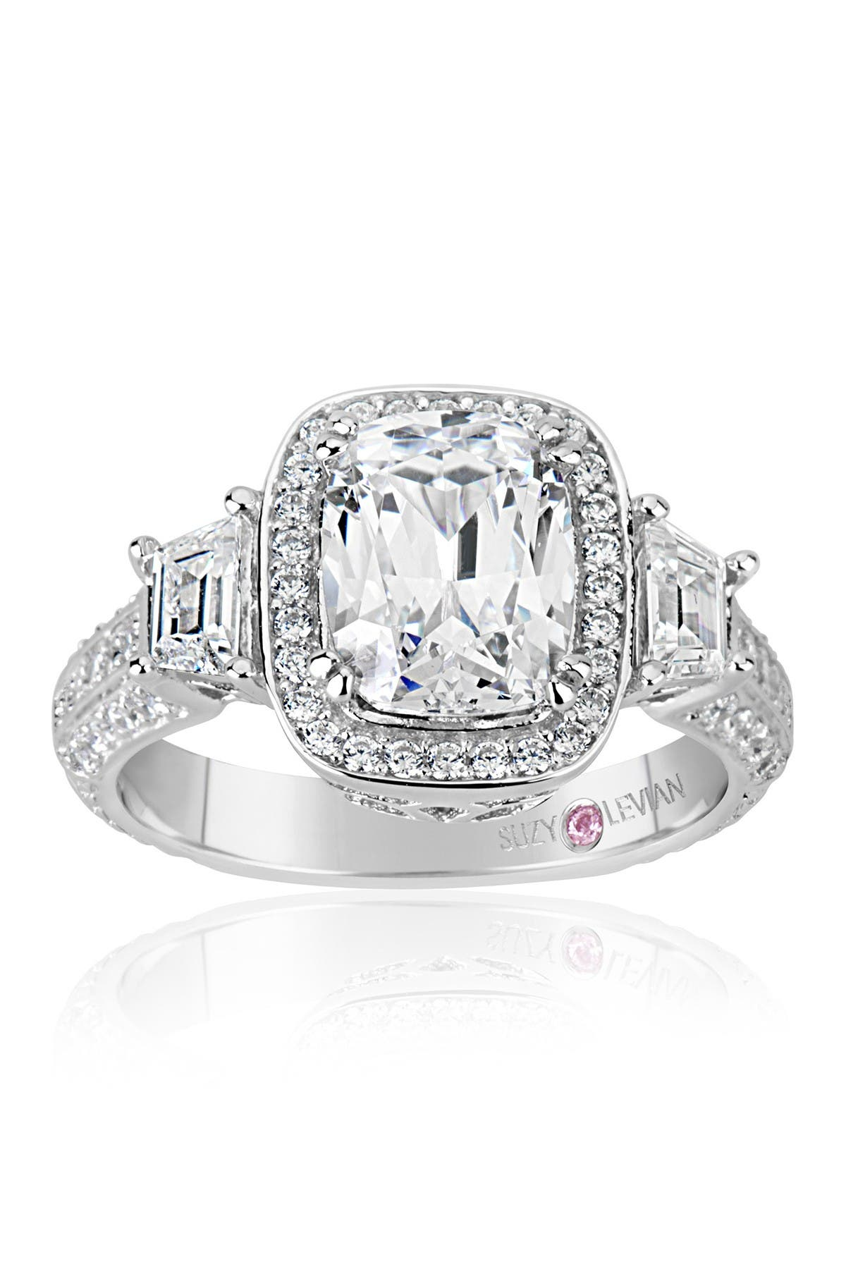 Image of Suzy Levian Sterling Silver Cushion-Cut CZ Center Stone Ring