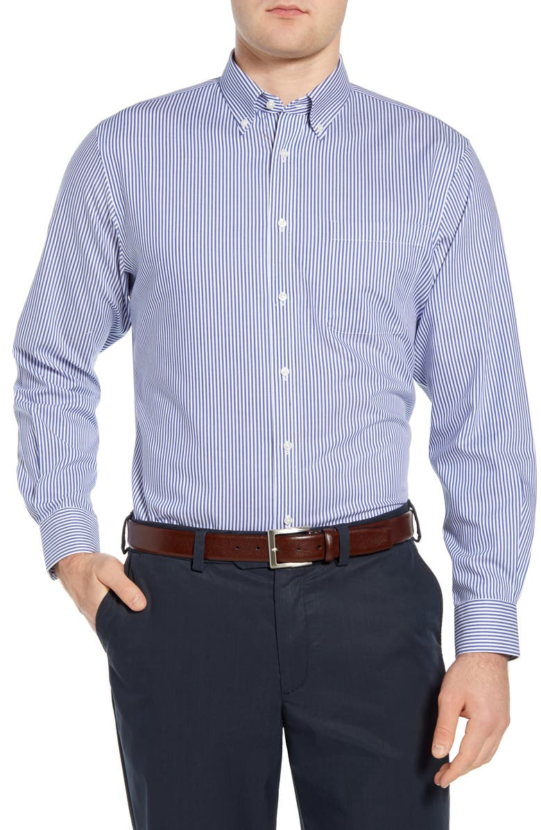 NORDSTROM Men's Shop Smartcare<sup>™</sup> Traditional Fit Stretch Stripe Dress Shirt, Main, color, BLUE WHITE BENGAL STRIPE