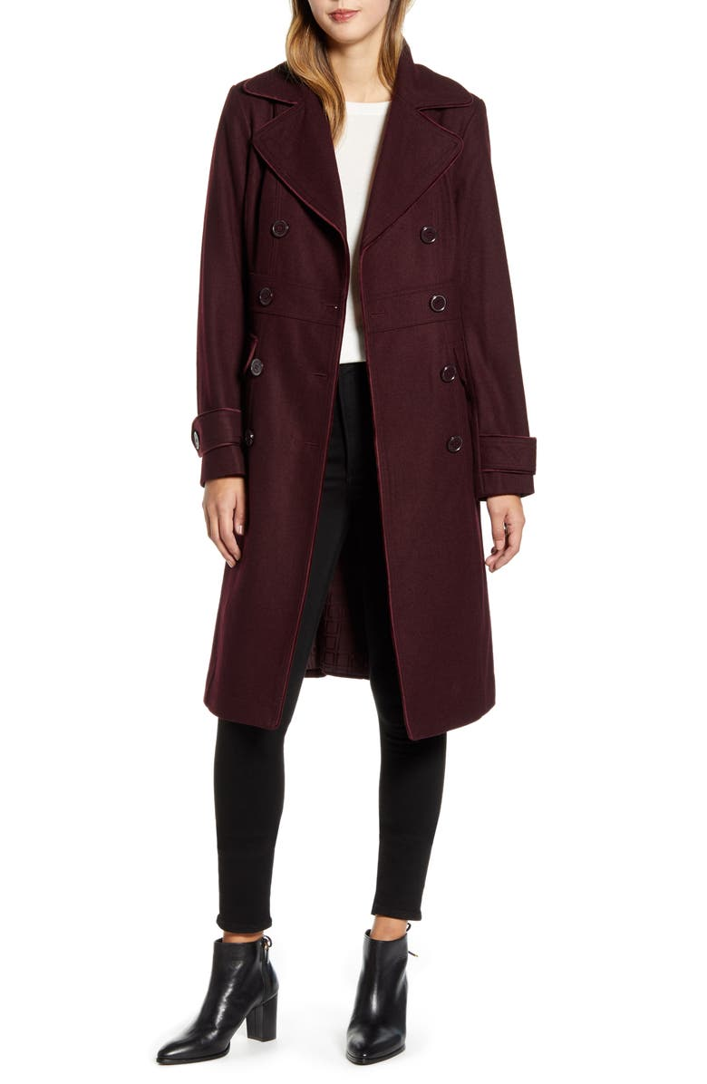 KENNETH COLE NEW YORK Wool Blend Military Coat, Main, color, RUM RAISIN