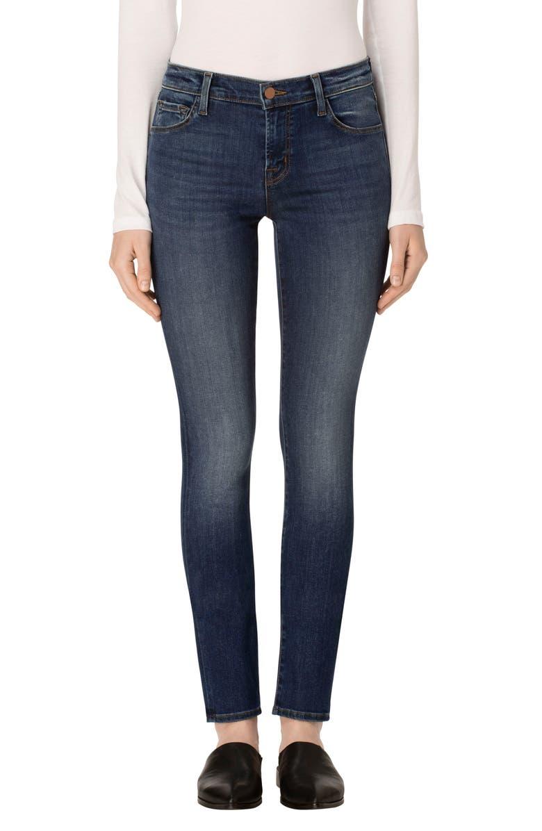 J BRAND Mid Rise Super Skinny Jeans, Main, color, SURREY LANE