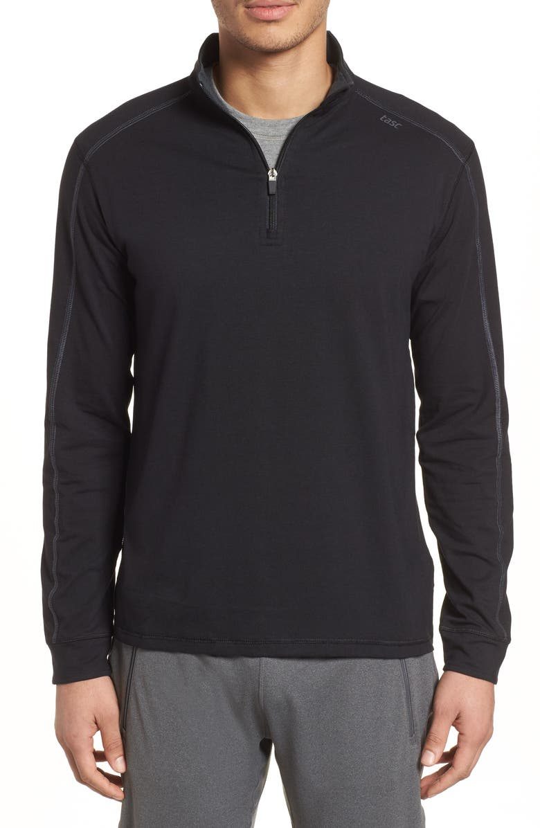 TASC PERFORMANCE Carrollton Quarter Zip Sweatshirt, Main, color, BLACK/ GUNMETAL