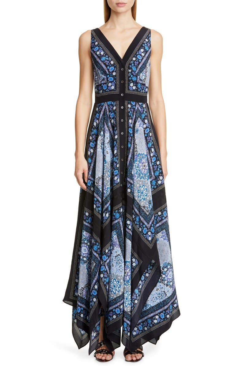 ALTUZARRA Scarf Print V-Neck Silk Maxi Dress, Main, color, FLAX FLOWER