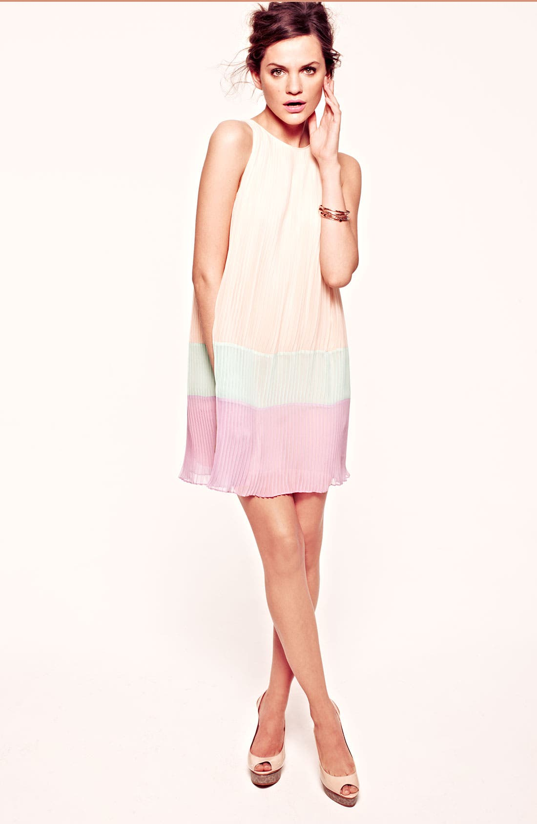 ,                             Pleated Colorblock Shift Dress,                             Alternate thumbnail 4, color,                             650