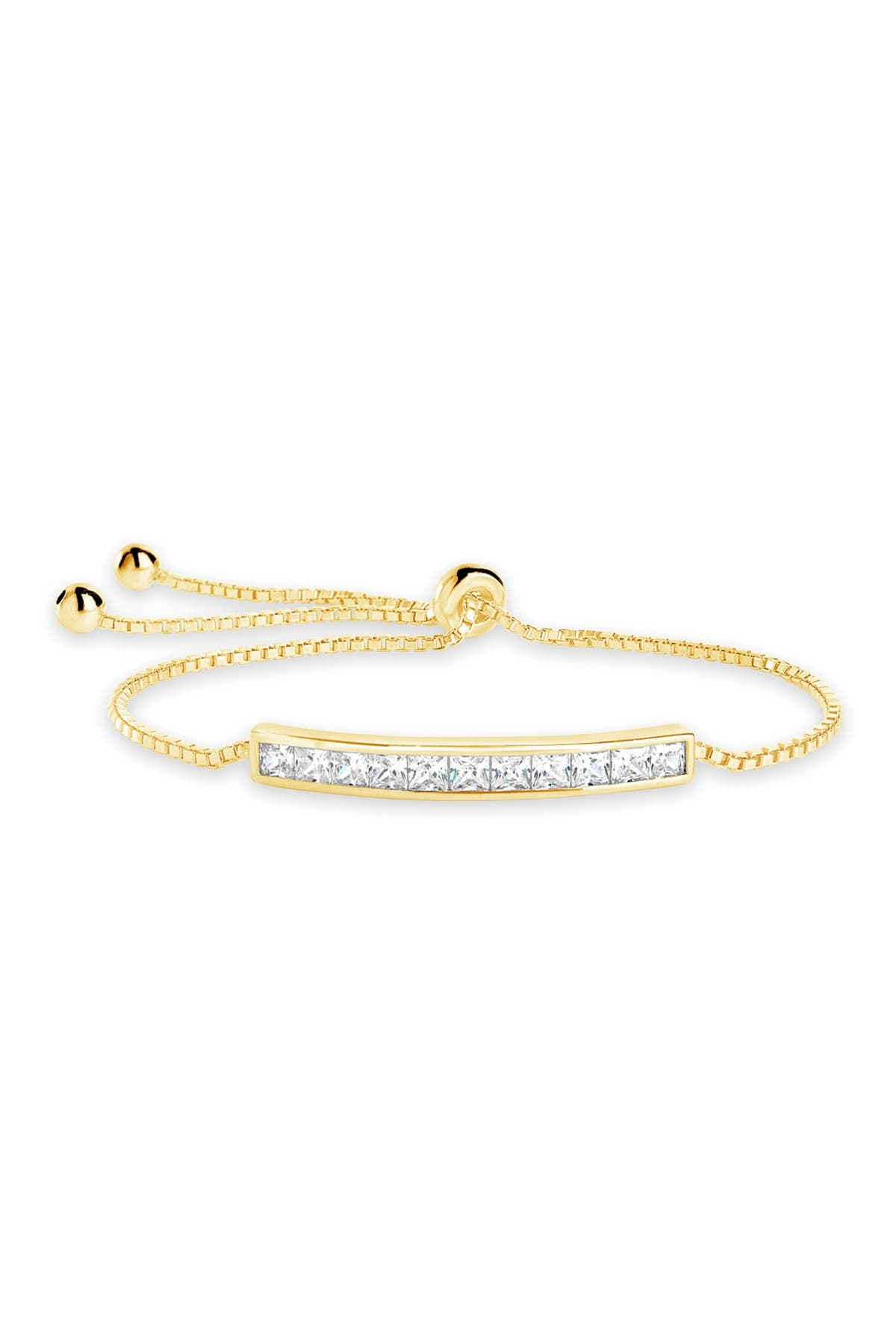 Image of Sterling Forever 14K Gold Plated Brass Inlaid CZ Bar Bolo Bracelet