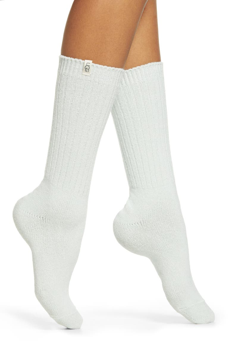 UGG<SUP>®</SUP> Ribbed Crew Socks, Main, color, RMN