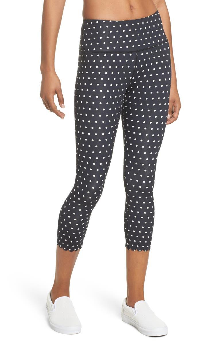 KATE SPADE NEW YORK polka dot scallop leggings, Main, color, 017