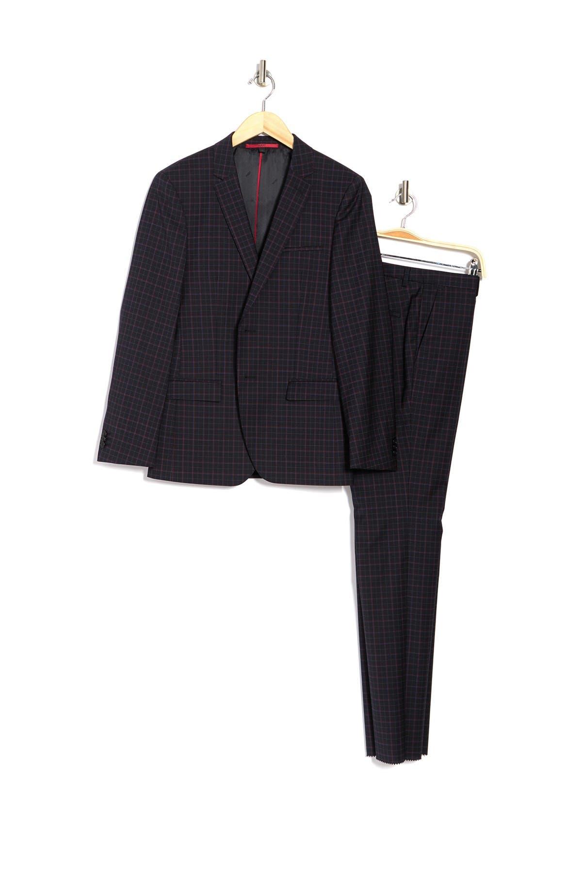 Image of BOSS Tattersall Print Two Button Notch Lapel Wool Suit