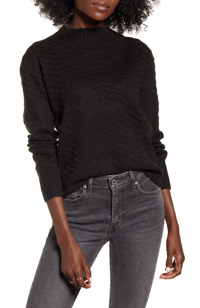DREAMERS BY DEBUT Chevron Stitch Mock Neck Sweater, Main, color, BLACK