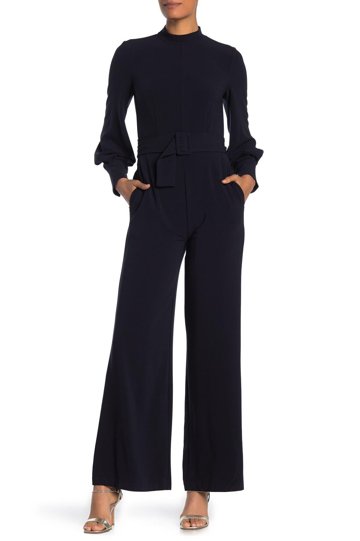 Image of Donna Morgan Long Sleeve Mock Neck Jumpsuit