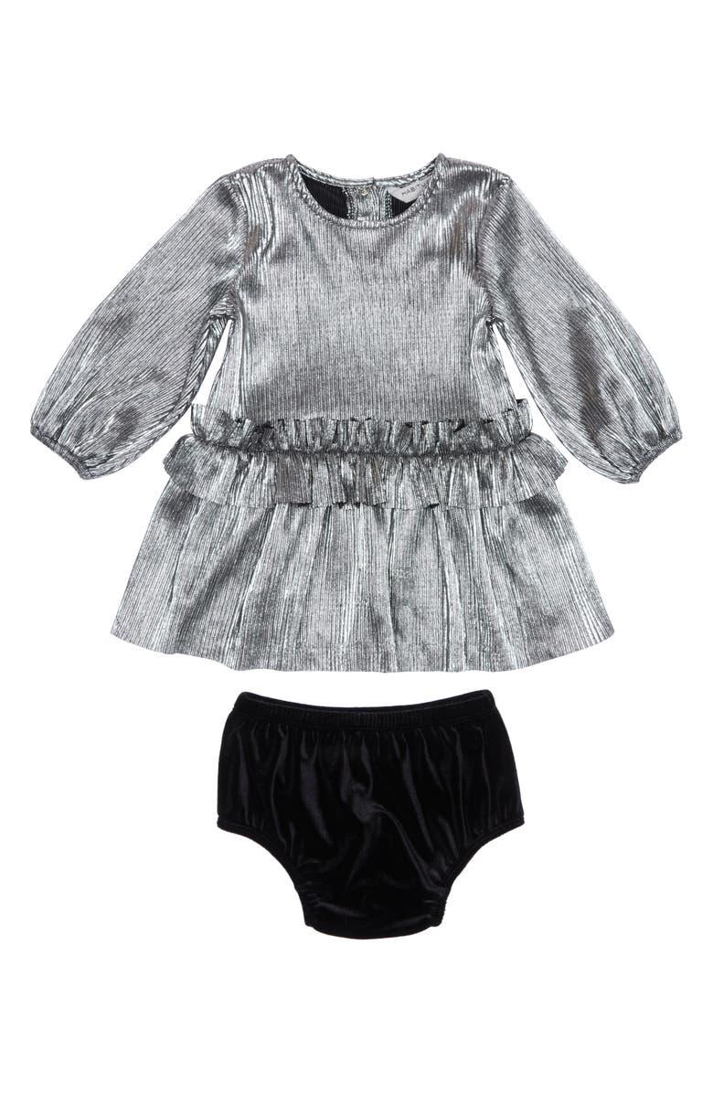 HABITUAL Collette Metallic Pleated Dress, Main, color, SILVER