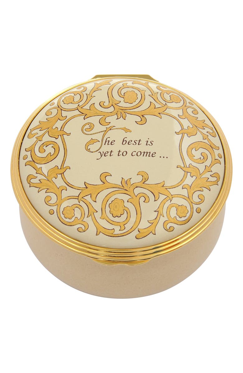 HALCYON DAYS The Best Is Yet to Come Enamel Box, Main, color, BEIGE