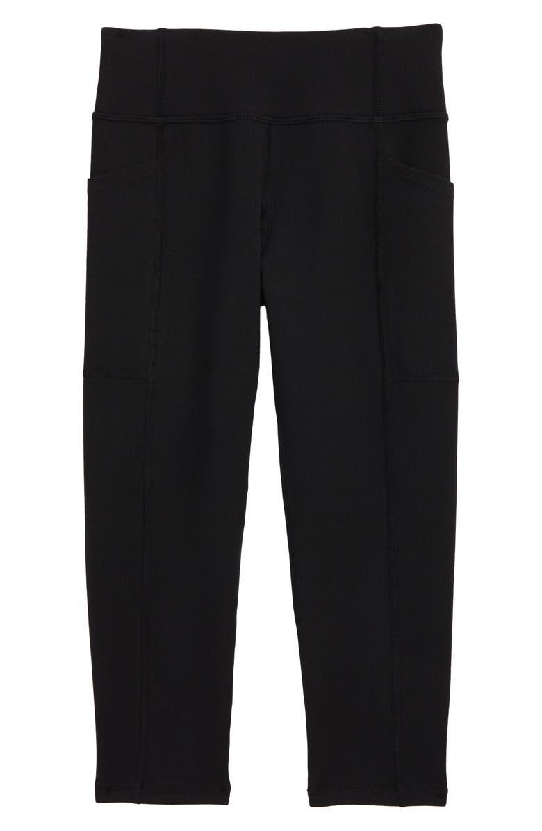ZELLA GIRL Kids' Solid Pocket Crop Leggings, Main, color, BLACK
