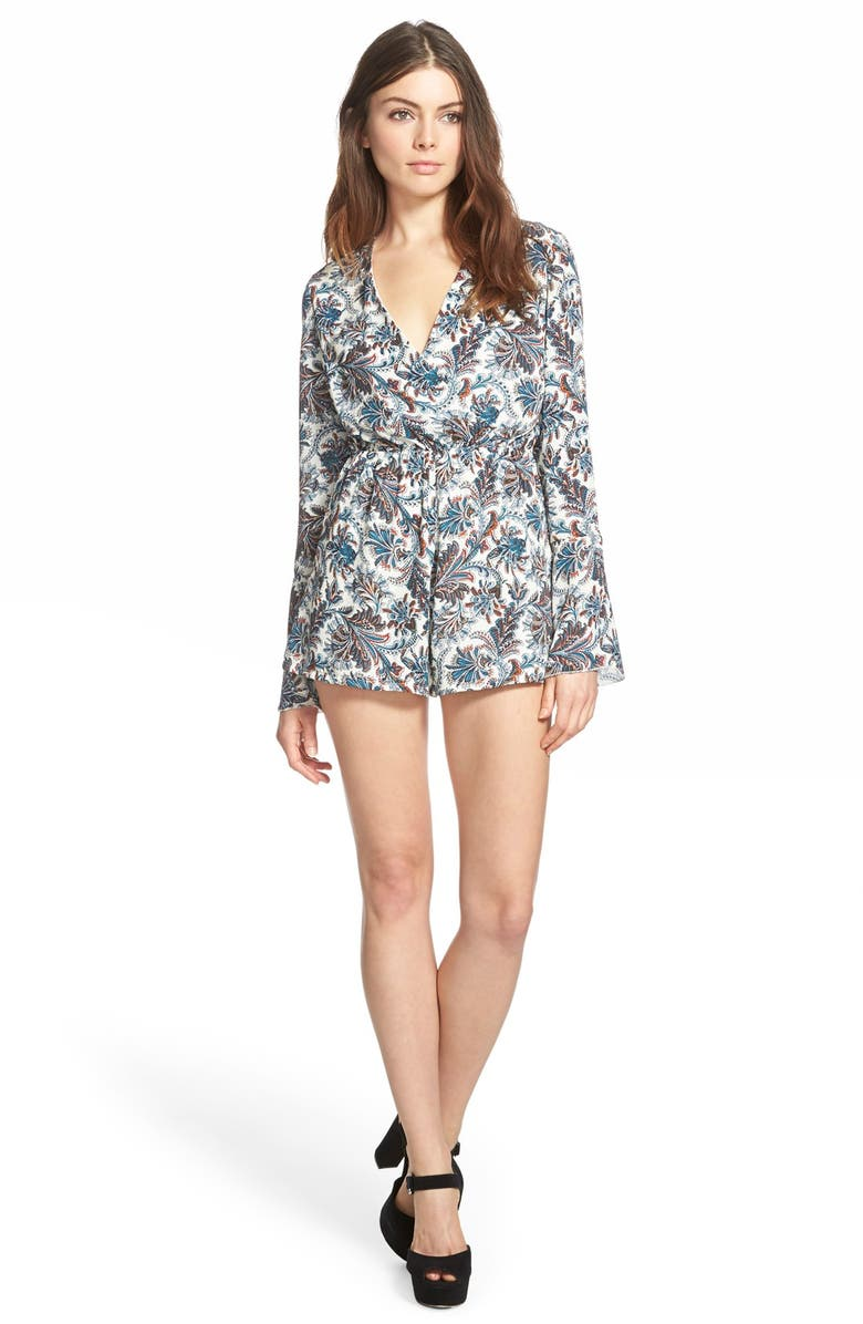 MISSGUIDED Bell Sleeve Print Romper, Main, color, 500
