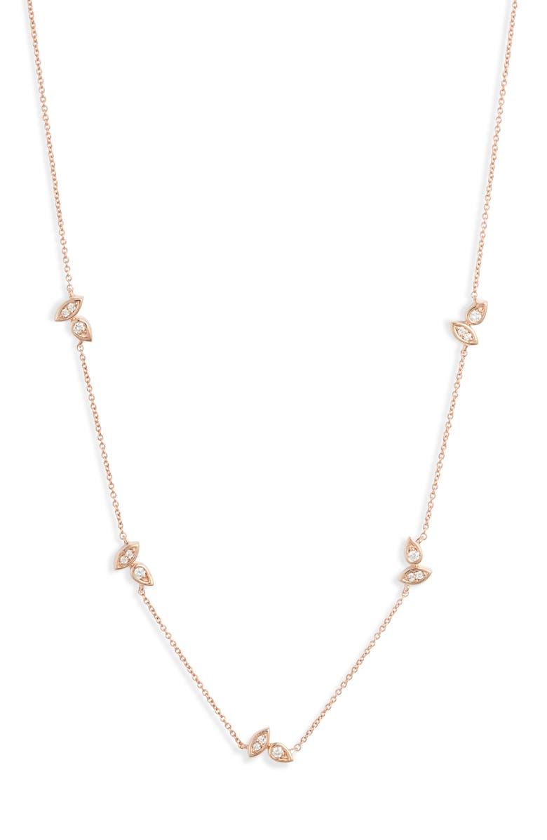 DANA REBECCA DESIGNS Lori Paige Diamond Station Necklace, Main, color, ROSE GOLD/ DIAMOND