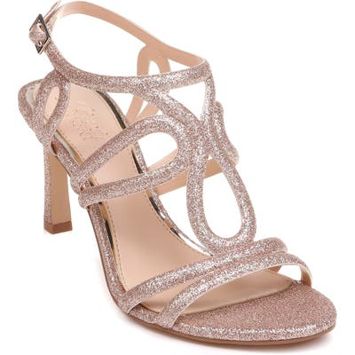 Jewel Badgley Mischka Simba Embellished Strappy Sandal- Pink