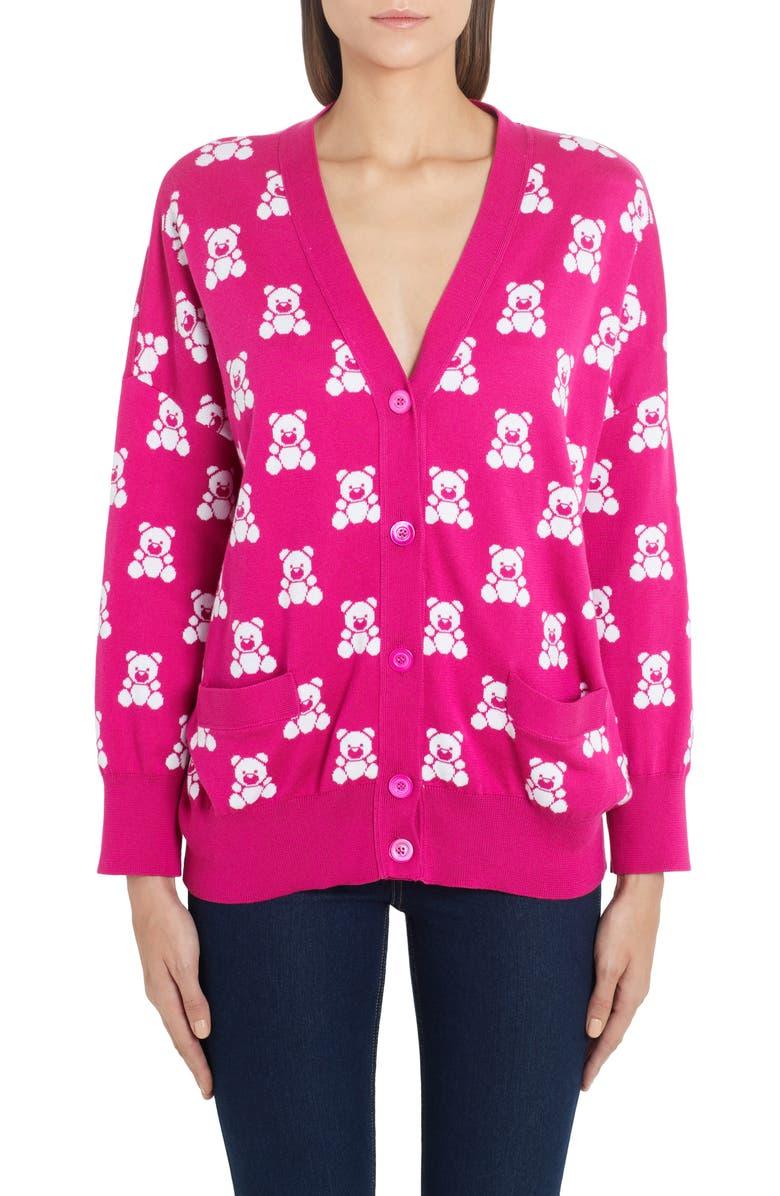 MOSCHINO Checkerboard Bear Cardigan, Main, color, FUCHSIA