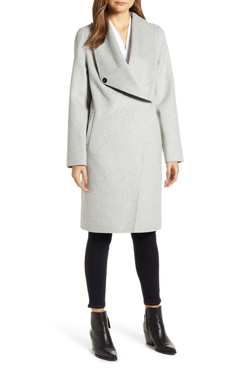 LAMARQUE Cascade Collar Wool Blend Coat, Main, color, 050
