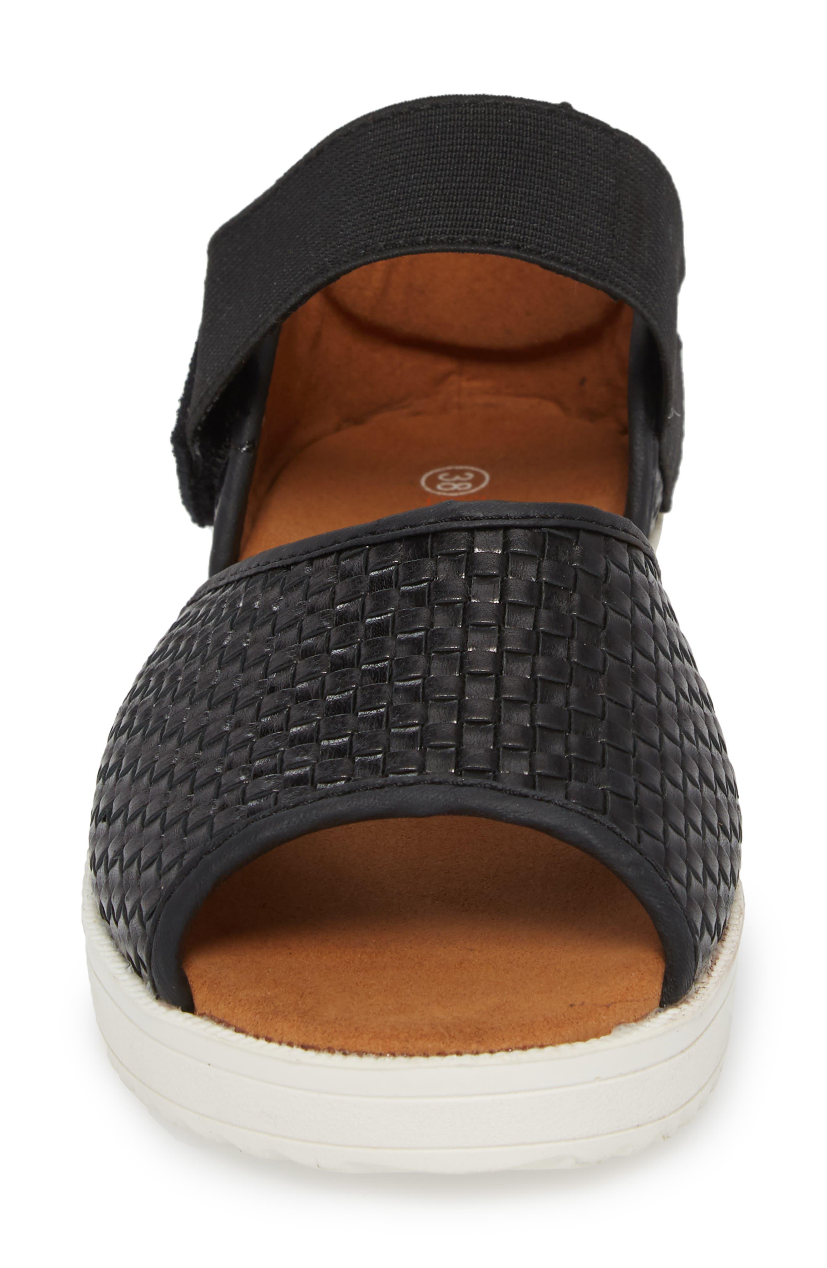 ,                             Havana Quarter Strap Sandal,                             Alternate thumbnail 4, color,                             BLACK LEATHER
