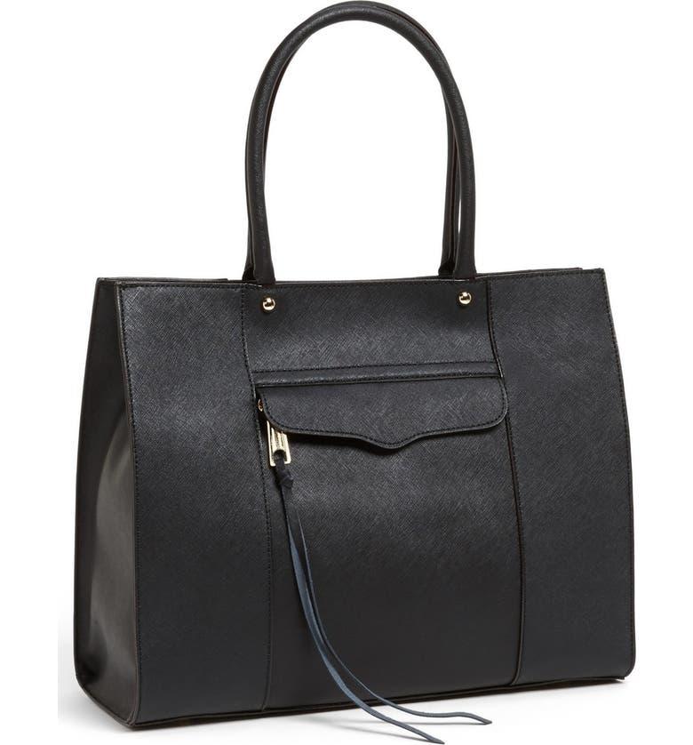 REBECCA MINKOFF 'Medium MAB' Saffiano Leather Tote, Main, color, 001