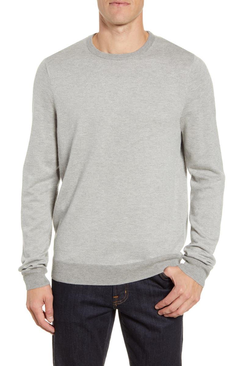 NORDSTROM MEN'S SHOP Bird's Eye Crewneck Sweater, Main, color, 050