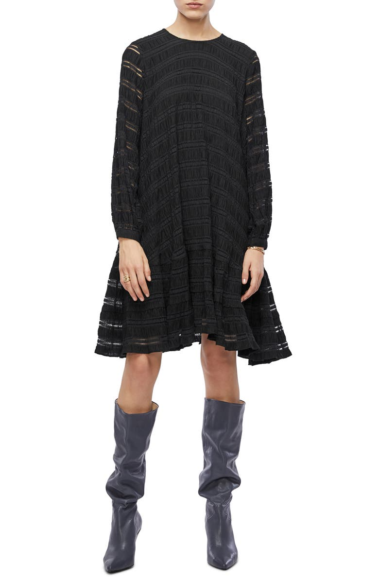 ANINE BING Viola Long Sleeve Swing Dress, Main, color, BLACK