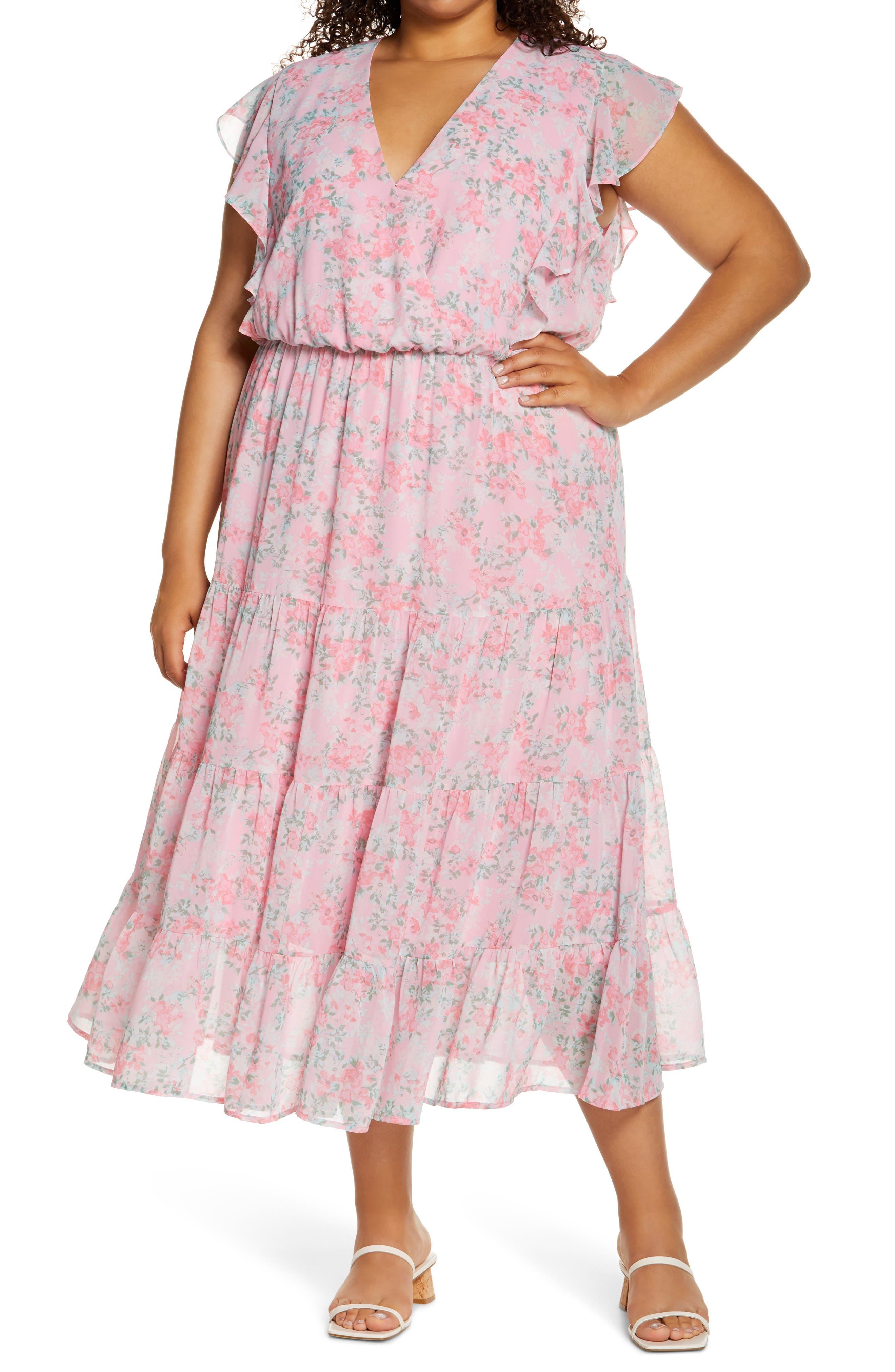 Ruffle Sleeve Floral Faux Wrap Dress