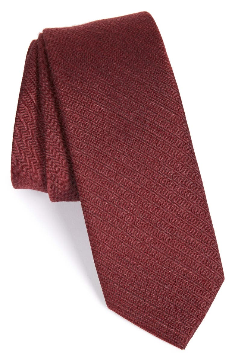 THE TIE BAR Solid Wool & Silk Tie, Main, color, BURGUNDY