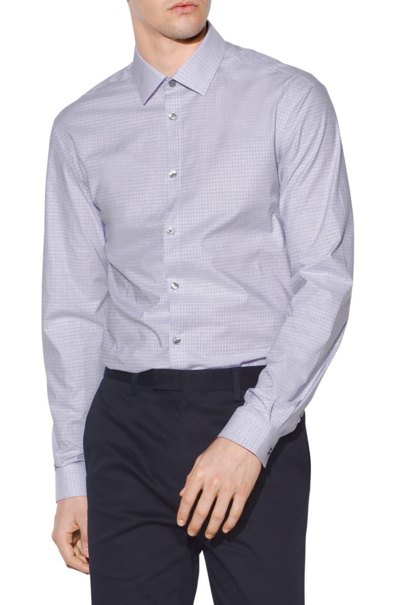 JOHN VARVATOS STAR USA Slim Fit Windowpane Plaid Dress Shirt, Main, color, 500