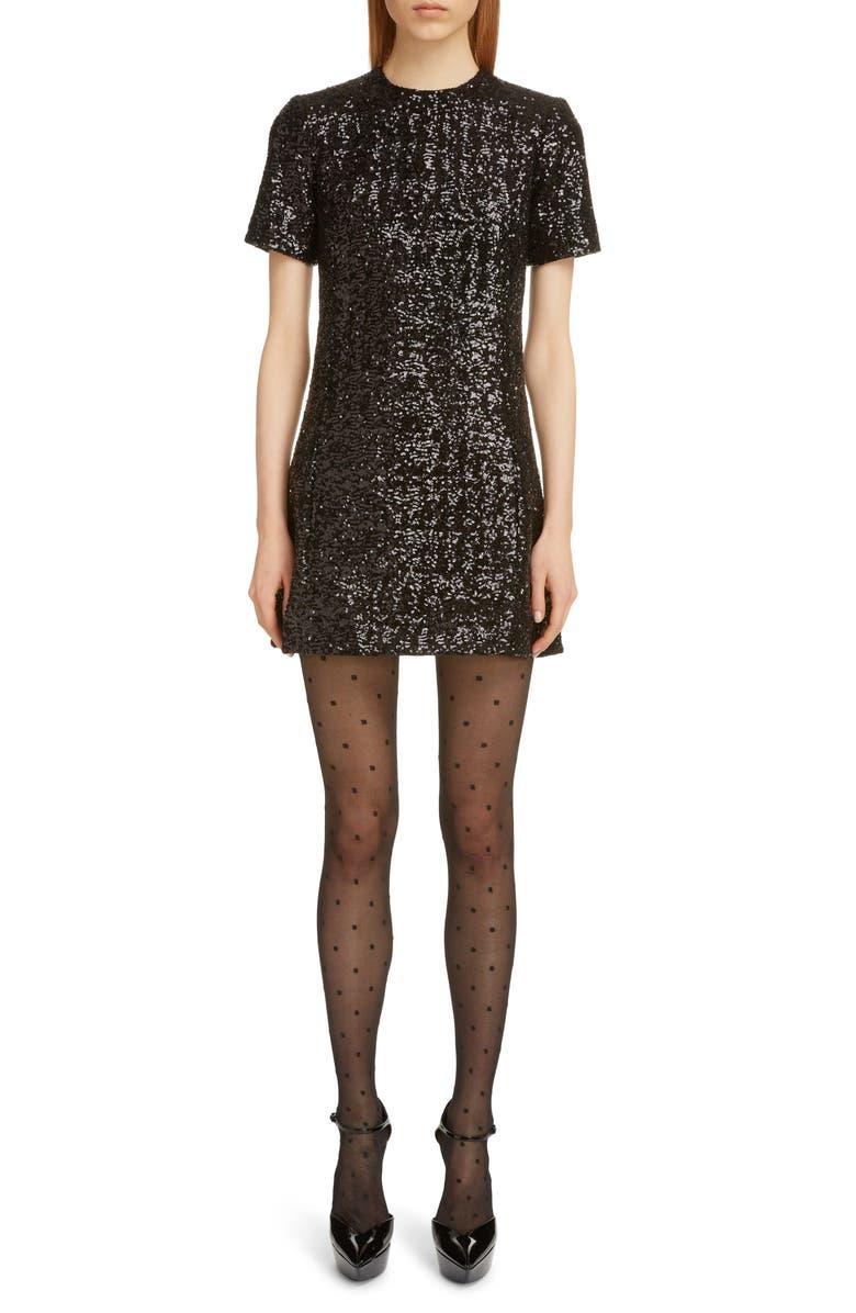 SAINT LAURENT Shimmer Sequin Short Sleeve Minidress, Main, color, NOIR