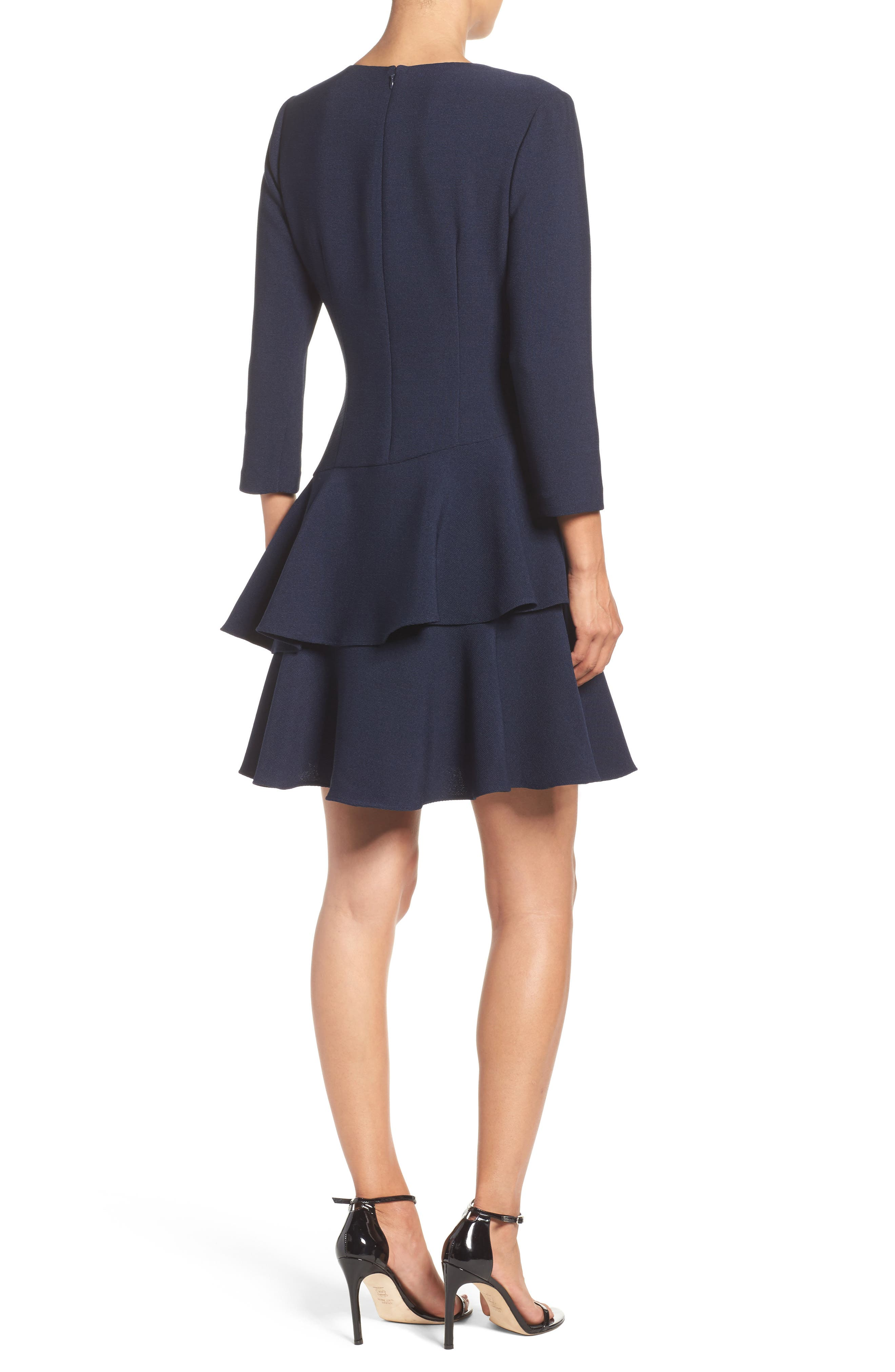 ,                             Tiered Ruffle Knit Dress,                             Alternate thumbnail 16, color,                             410