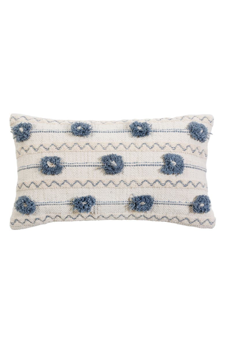 POM POM AT HOME Izzy Accent Pillow, Main, color, IVORY/ DENIM