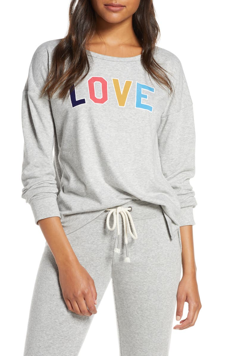 PJ SALVAGE Love Lounge Pullover, Main, color, H GREY