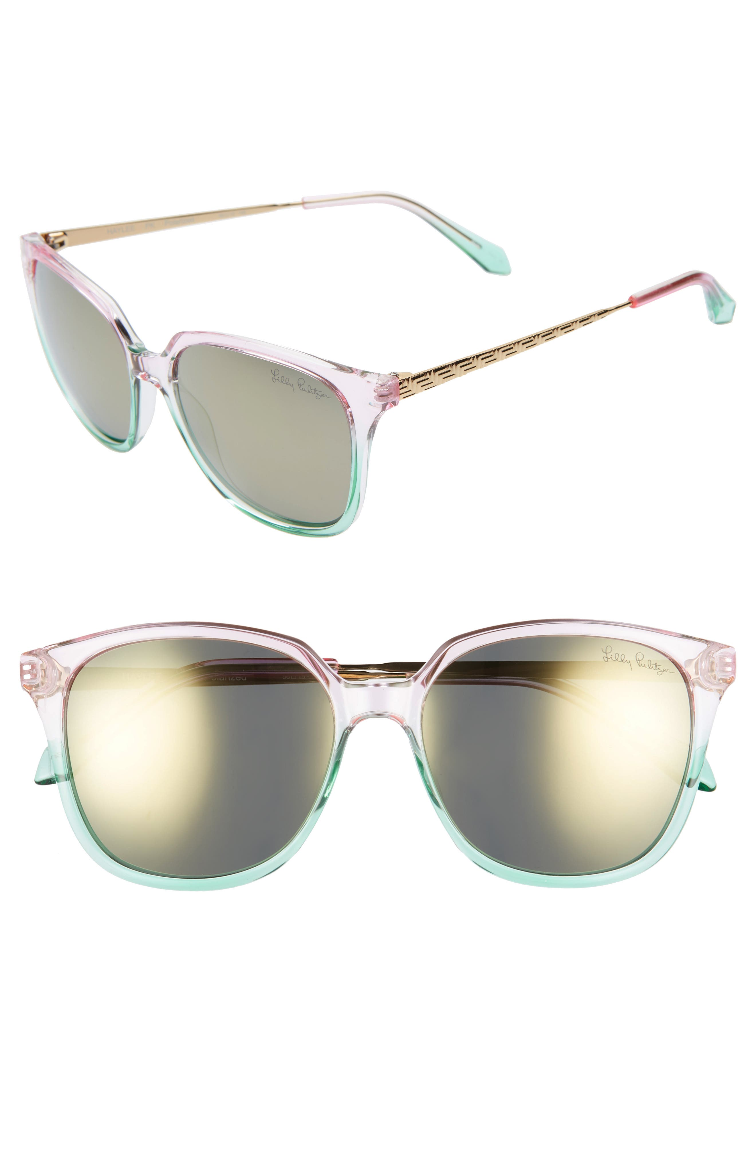 Lilly Pulitzer Haylee 5m Sunglasses - Crystal Pink To Green/ Silver