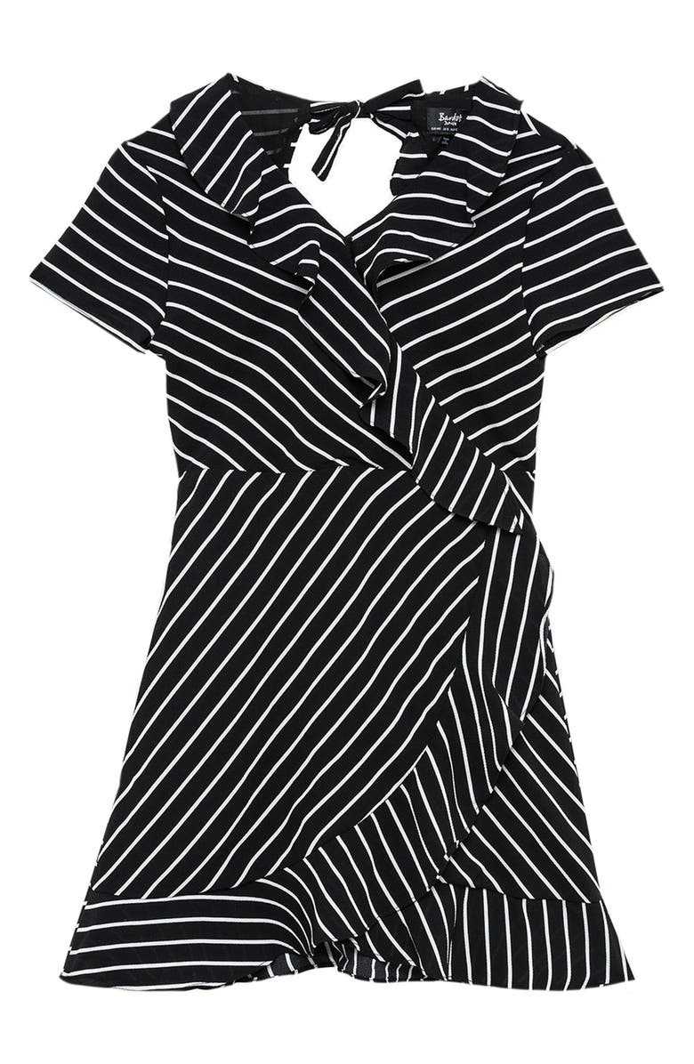 BARDOT JUNIOR Lola Stripe Open Back Dress, Main, color, STRIPE