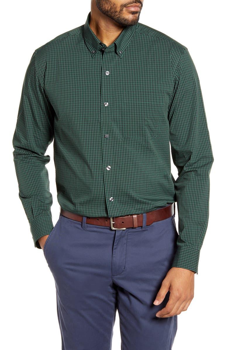 CUTTER & BUCK Anchor Classic Fit Gingham Button-Down Shirt, Main, color, HUNTER
