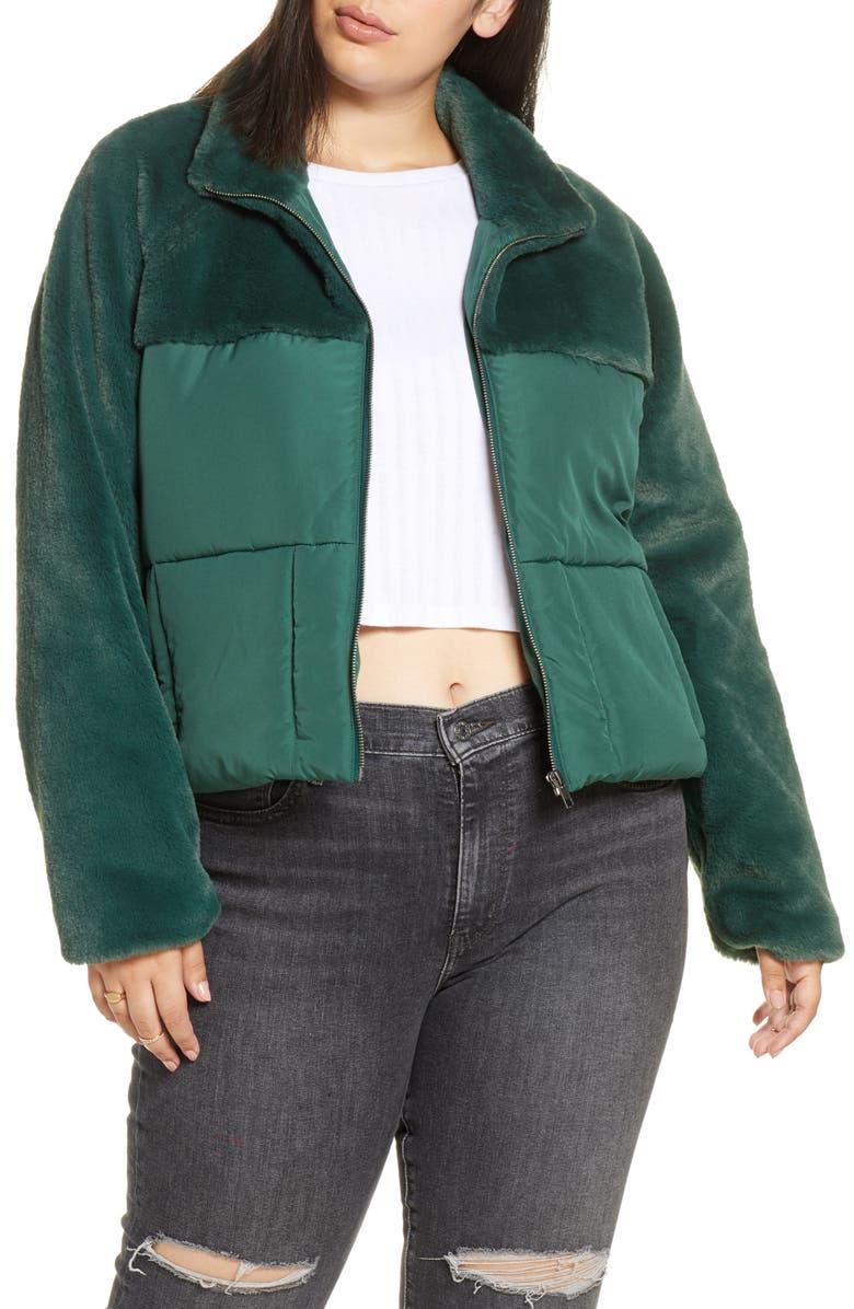 BP. Mixed Media Puffer Coat, Main, color, GREEN BUG
